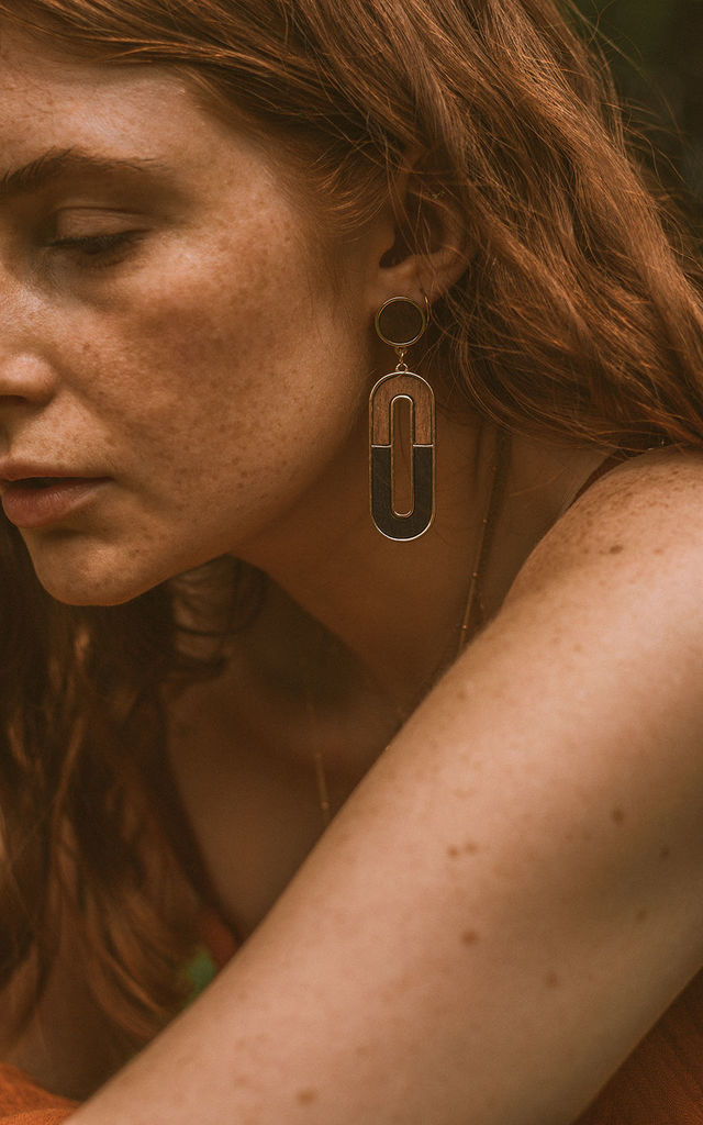 Oblong Wooden Geometric Drop Earrings by Xander Kostroma