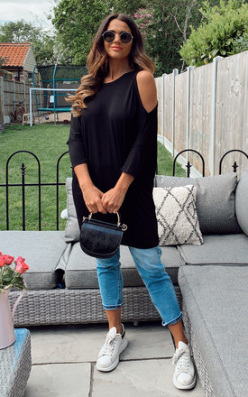 Black Cold Shoulder Jersey Batwing Top by Bella and Blue Product photo