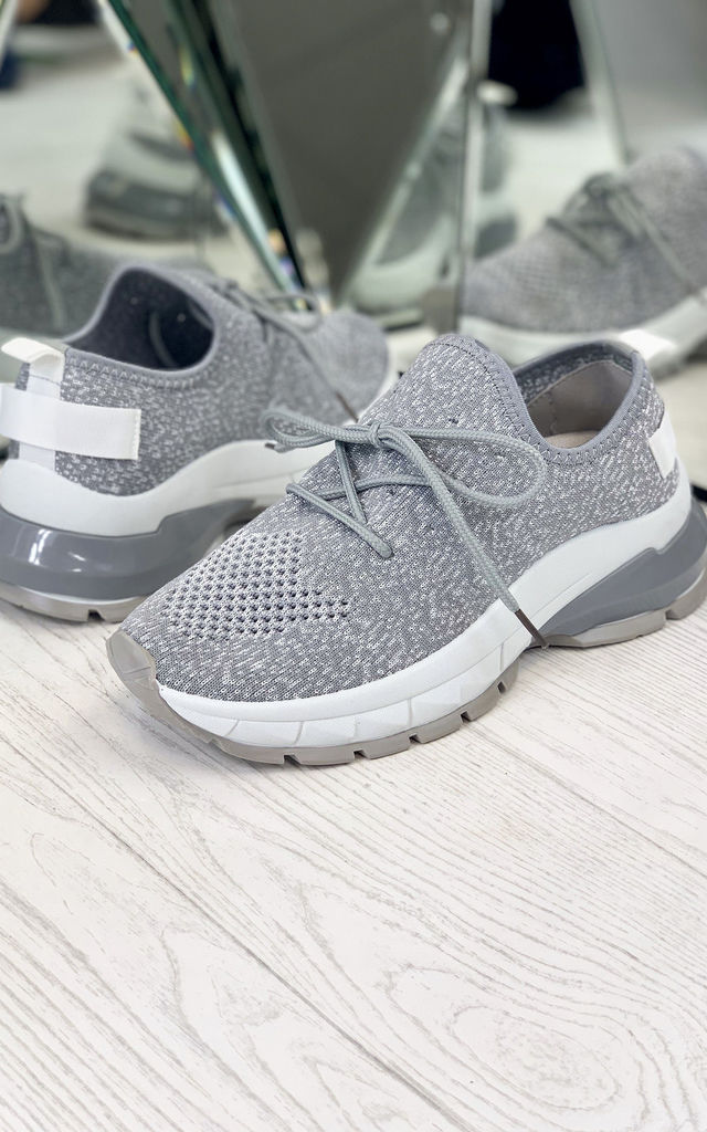 Aitana Knitted Trainers in Grey by Larena Fashion