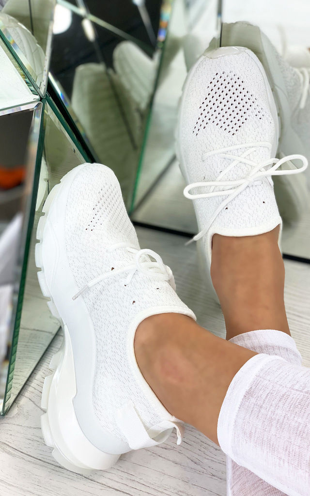 Aitana Knitted Trainers in White by Larena Fashion