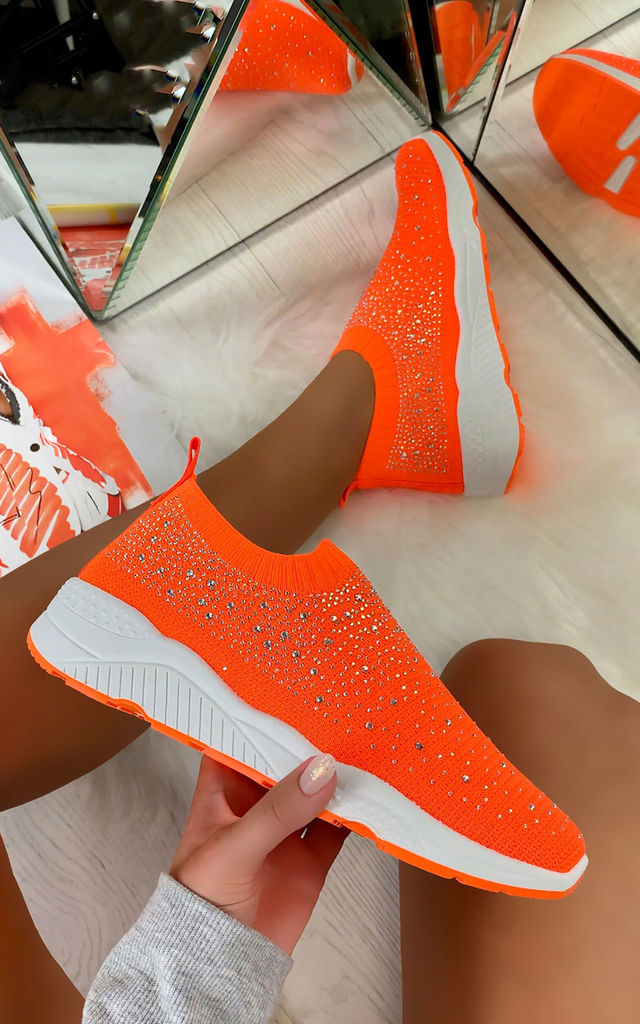 Crystal Sizzle Sock Sneakers in Orange by Larena Fashion