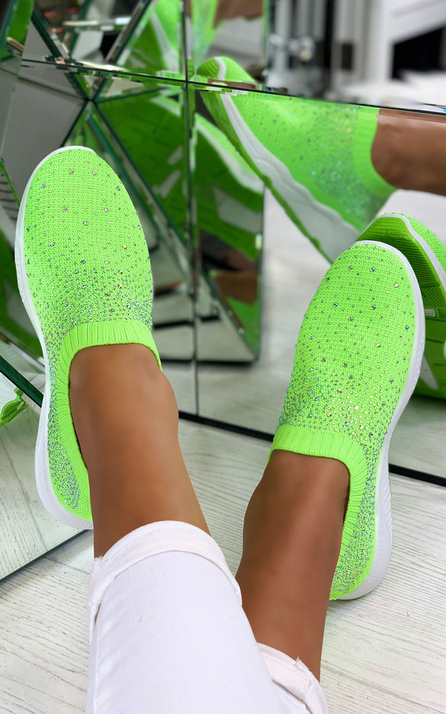 Crystal Sizzle Sock Sneakers in Green by Larena Fashion