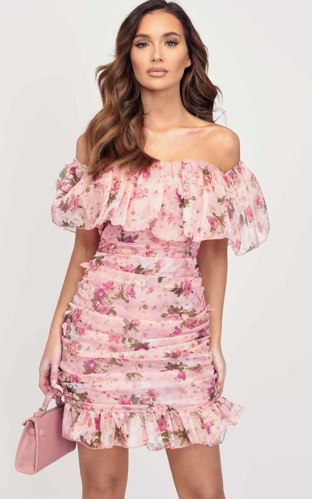 floral bardot frill ruched mini dress pink by LILY LULU FASHION