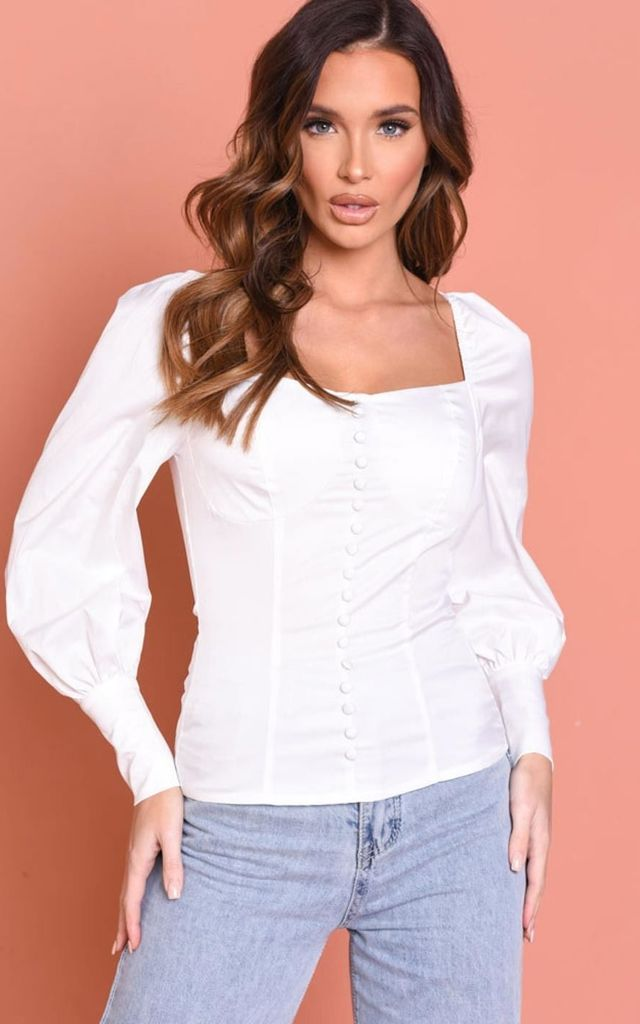 front button detail puff sleeve shirred blouse top white by LILY LULU FASHION