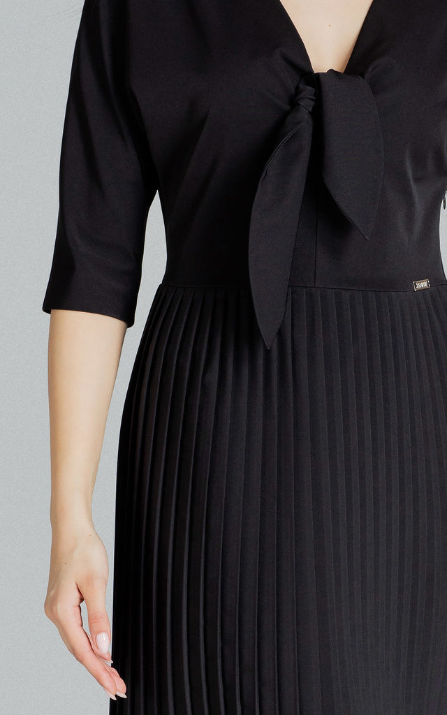 Black Spring Dress With a Pleated Bottom by LENITIF