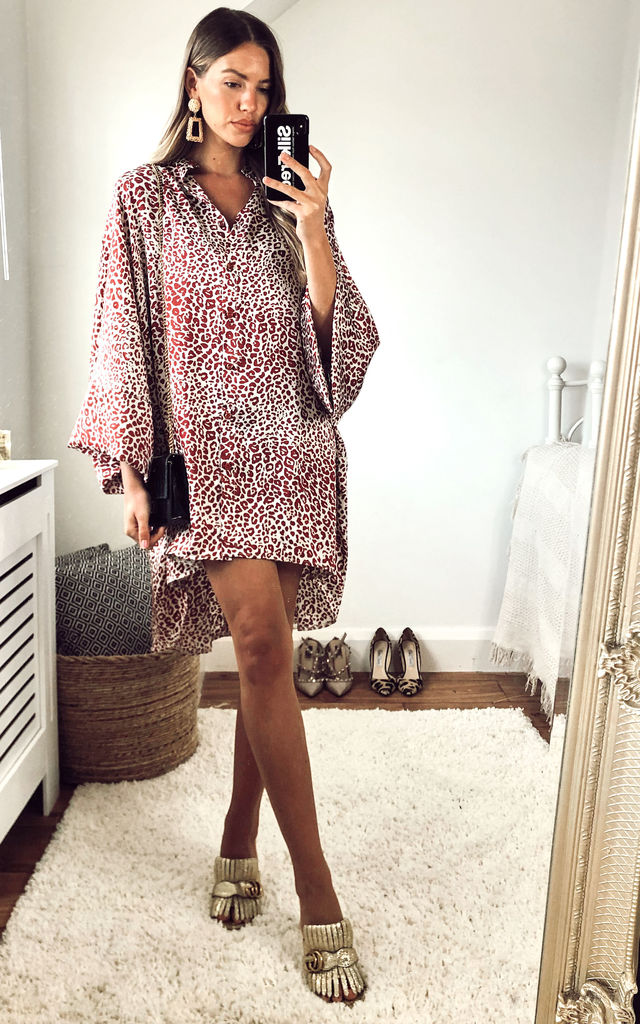 Oversized Leopard Print Hi Low Shirt Dress by Gini London