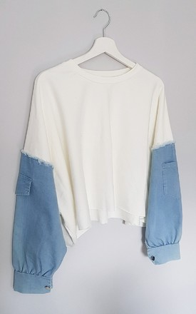 Lara Denim Sleeve Cropped Jumper in Cream by IKRUSH