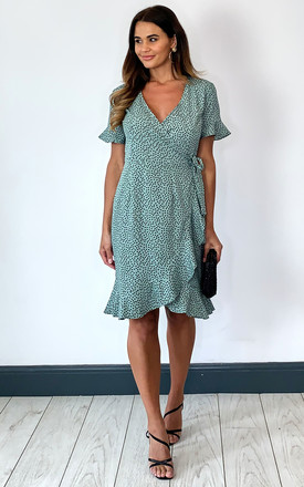 Short Sleeve Wrap Dress with Frill Hem in Green with Black Spot by ONLY