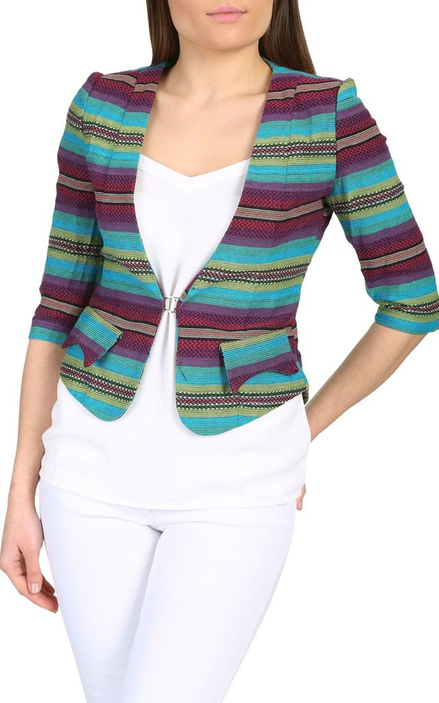 Tribal Print Fitted Blazer (Teal) by Cutie London