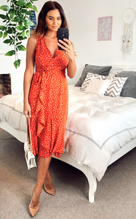 Exclusive Orange Sleeveless V Neck Patterned Ruffle Wrap Midi  Summer Dress by TENKI LONDON Product photo
