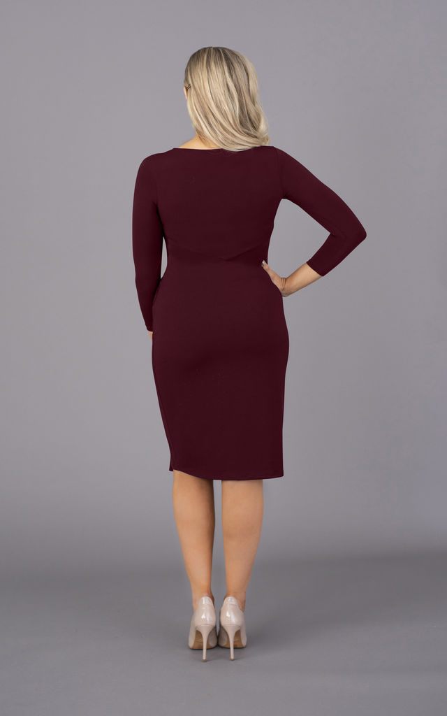 Burgundy Wine long sleeves dress by Perfect Dress Company