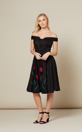 Jasmeena Flower Embroidery Dress by Timeless London