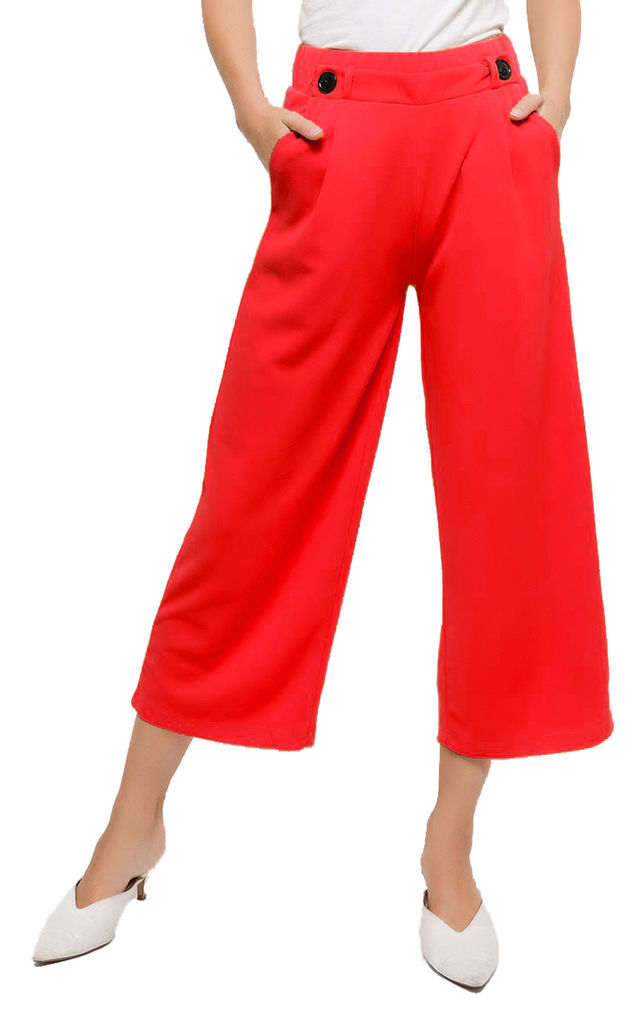 Emma Red Flared Wide Leg Culotte Pants by Modamore