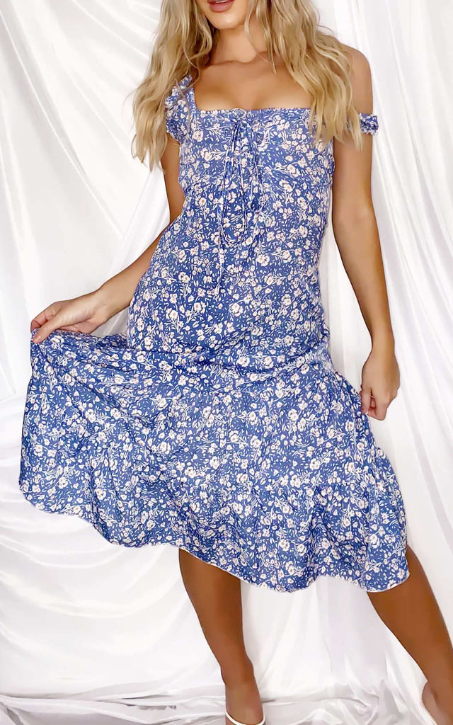 Floral Print Bardot Cupped Lace Up Frill Midi Dress Blue by LILY LULU FASHION