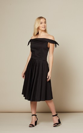 Mona Black Off Shoulder Dress by Timeless London