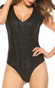 Sequin Sleeveless Bodysuit In Black by FS Collection