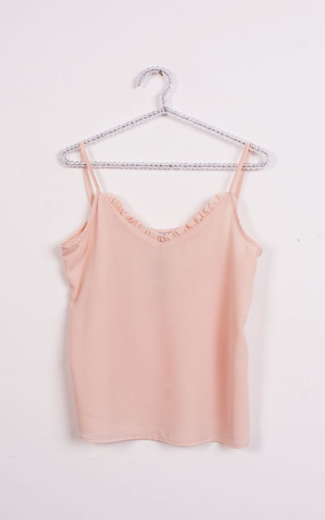 RUFFLE V NECK STRAPPY CAMI TOP in Peach by LOES House