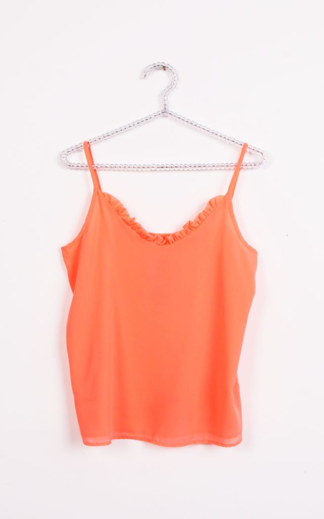 RUFFLE V NECK STRAPPY CAMI TOP in Neon Orange by LOES House