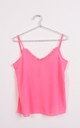 RUFFLE V NECK STRAPPY CAMI TOP in Neon Pink by LOES House