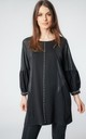 OVERSIZED PEARL EMBELLISHED TUNIC TOP WITH PUFF SLEEVES IN BLACK by LOES House