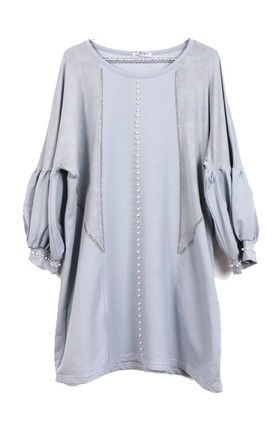OVERSIZED PEARL EMBELLISHED TUNIC TOP WITH PUFF SLEEVES IN LIGHT GREY by LOES House