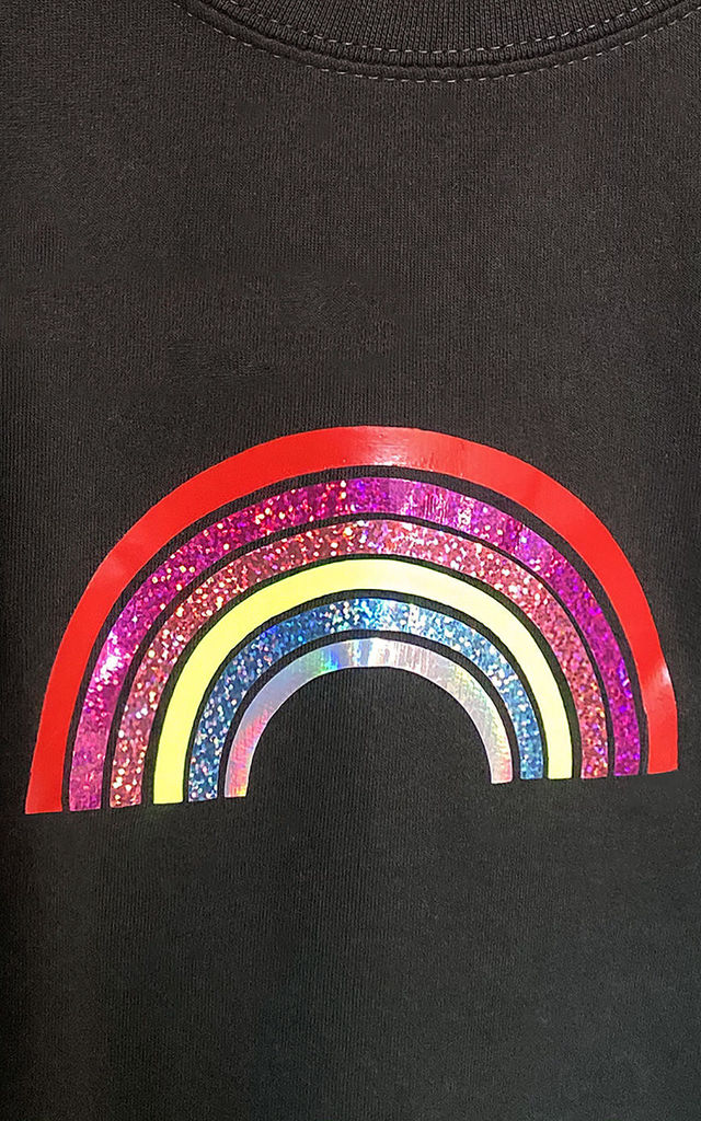 Jumper in Black with Mini Glitter Rainbow by LimeBlonde