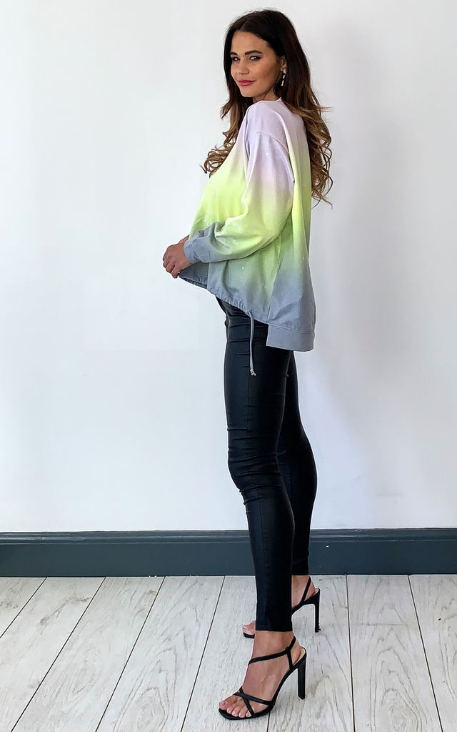 Tie Dye Oversized Sweater in Lime and Grey by Religion