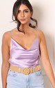 Strappy Cowl Neck Satin Cami Vest Top in Lilac by One Nation Clothing