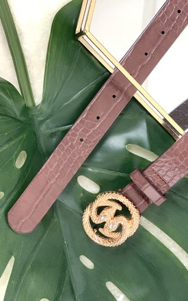 Brown double snake buckle belt by Unscripted
