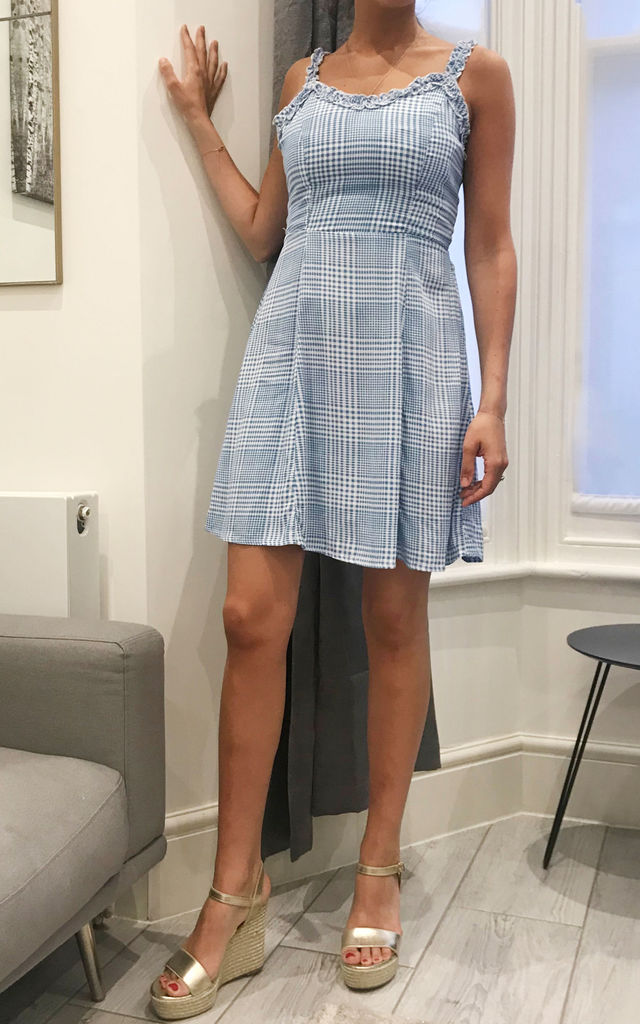 Frill Strap Baby Blue Checked Summer Mini Sun Dress by KRISP