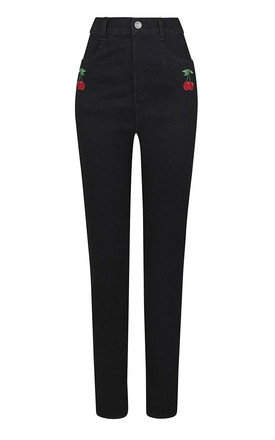 Becca Dark Black Denim High Waist Cherry Jeans by Collectif Clothing