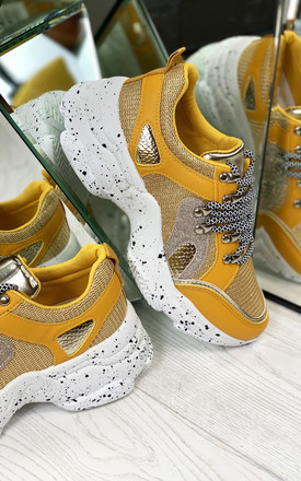 Kayden Chunky Lace Up Trainers In Yellow by Larena Fashion