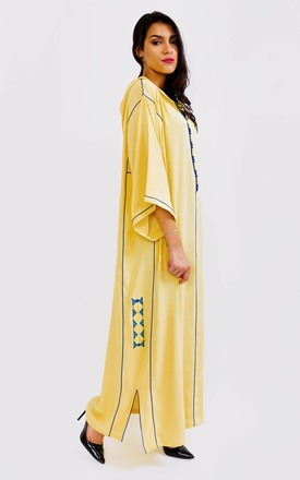 Djellaba Ouleia Hooded Contrast Maxi Dress in Yellow by Diamantine