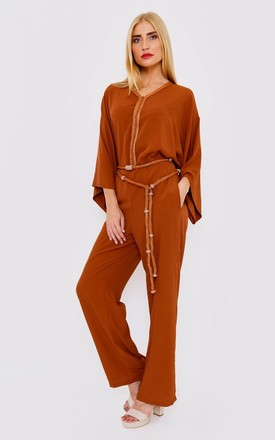 Fairouz Cropped Sleeve V Neck Modest Jumpsuit with Belt in Brown by Diamantine