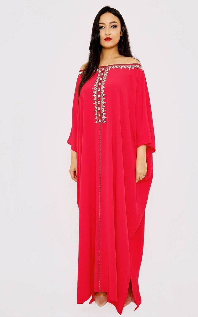 Kaftan Arwa Off-The-Shoulder Bardot Loose Maxi Dress in Raspberry by Diamantine