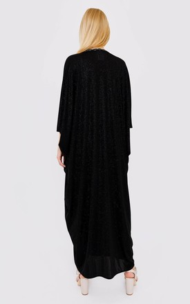 Kaftan Noha Cropped Sleeve Lightweight Maxi Dress in Black by Diamantine