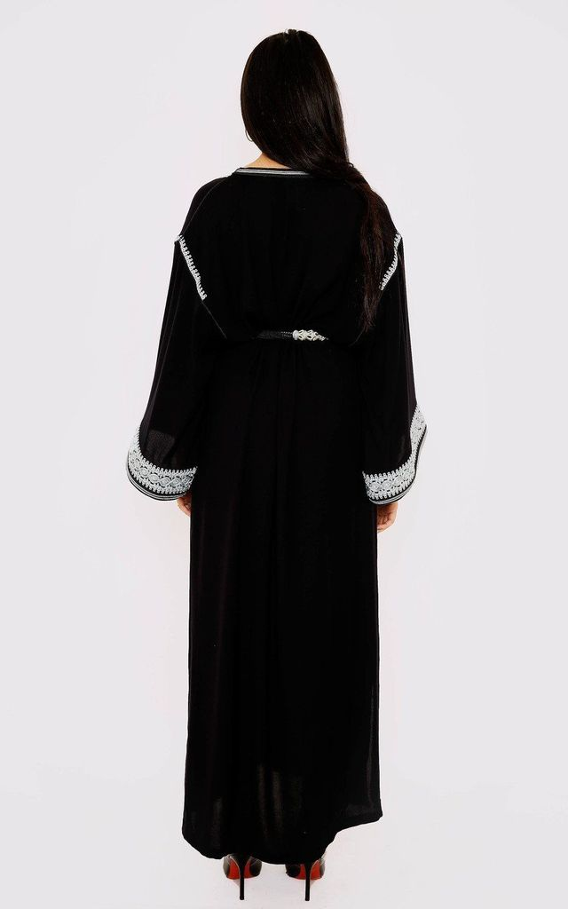 Kaftan Reina Long Sleeve Embroidered Round Neck Maxi Dress in Black by Diamantine