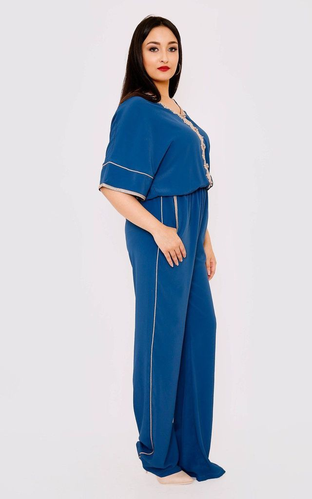 Maisson Cropped Sleeve V Neck Embroidered Full-Length Jumpsuit by Diamantine