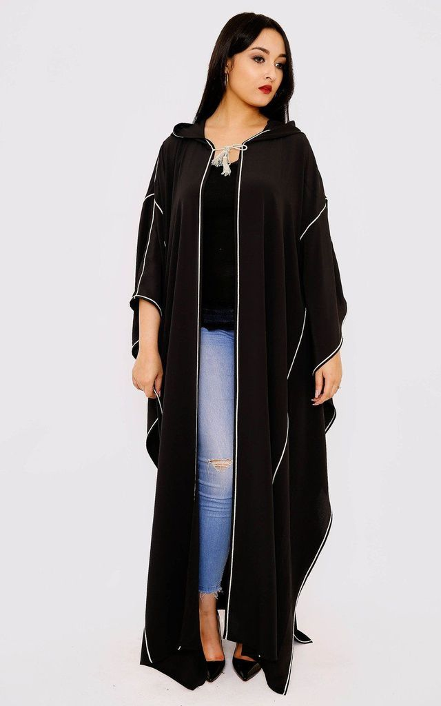 Selham Dina Full-Length Hooded Traditional Cape in Black by Diamantine