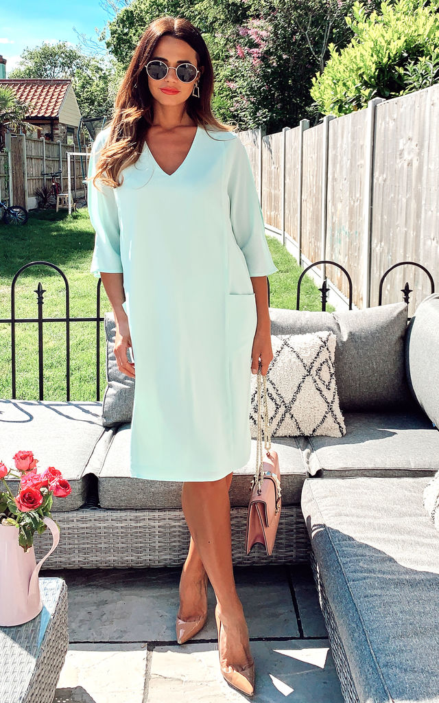 Mint Relaxed Fit Split Sleeve Midi Dress by DIVINE GRACE