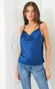 Cowl Neck Satin Cami Top | Navy Blue by love frontrow
