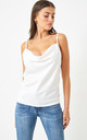 Cowl Neck Satin Cami Top | White by love frontrow