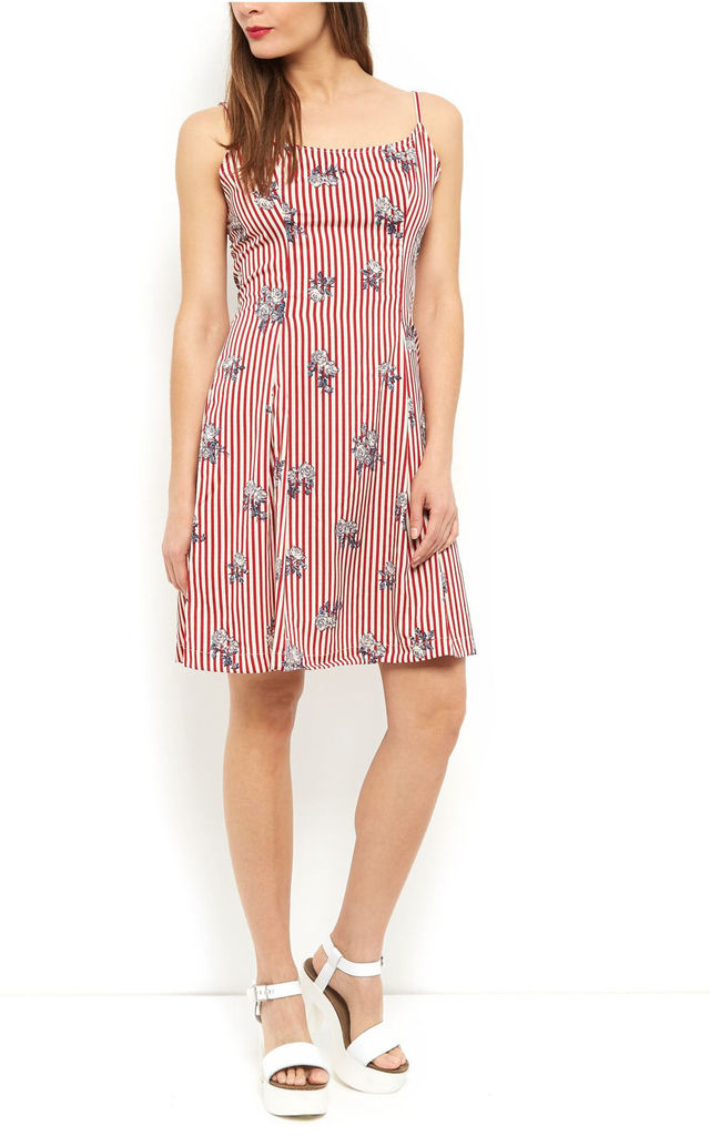 Red Stripe Dress with Spaghetti Strap by Cutie London