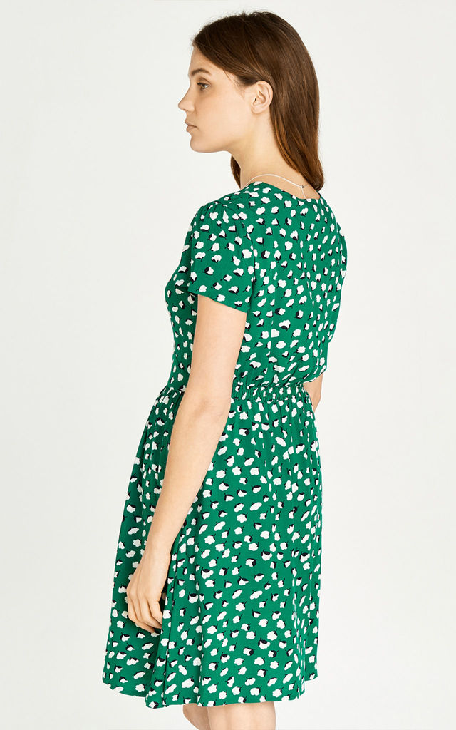 Green Floral Bud V Neck Dress by APRICOT