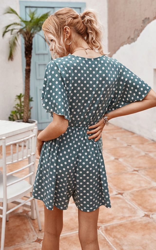 Loungewear Playsuit In Dark Egg Green & White Polka Dot by FS Collection