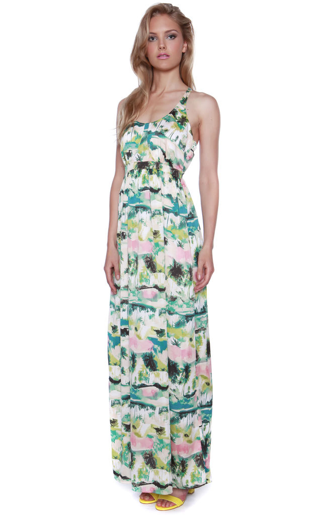 Tropical Print Vacation Maxi Dress by Cutie London