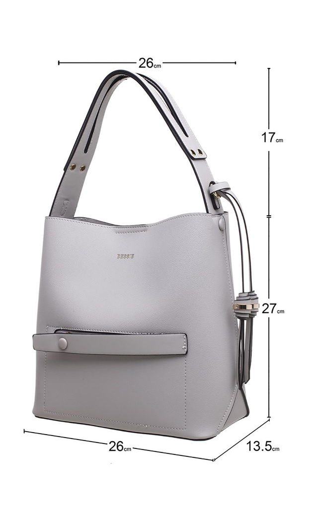 SHOULDER BAG WITH ZIP IN GREY by BESSIE LONDON