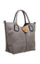 WOODEN BUTTON BAG-IN-BAG TOTE GREY by BESSIE LONDON