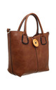 WOODEN BUTTON BAG-IN-BAG TOTE BROWN by BESSIE LONDON