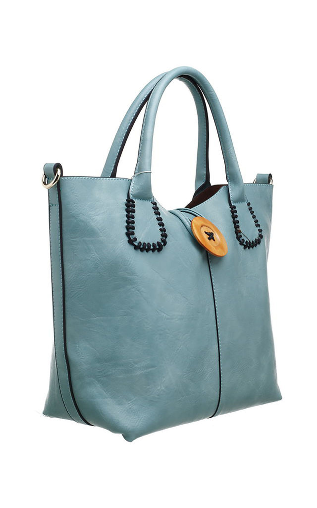 WOODEN BUTTON BAG-IN-BAG TOTE TEAL by BESSIE LONDON